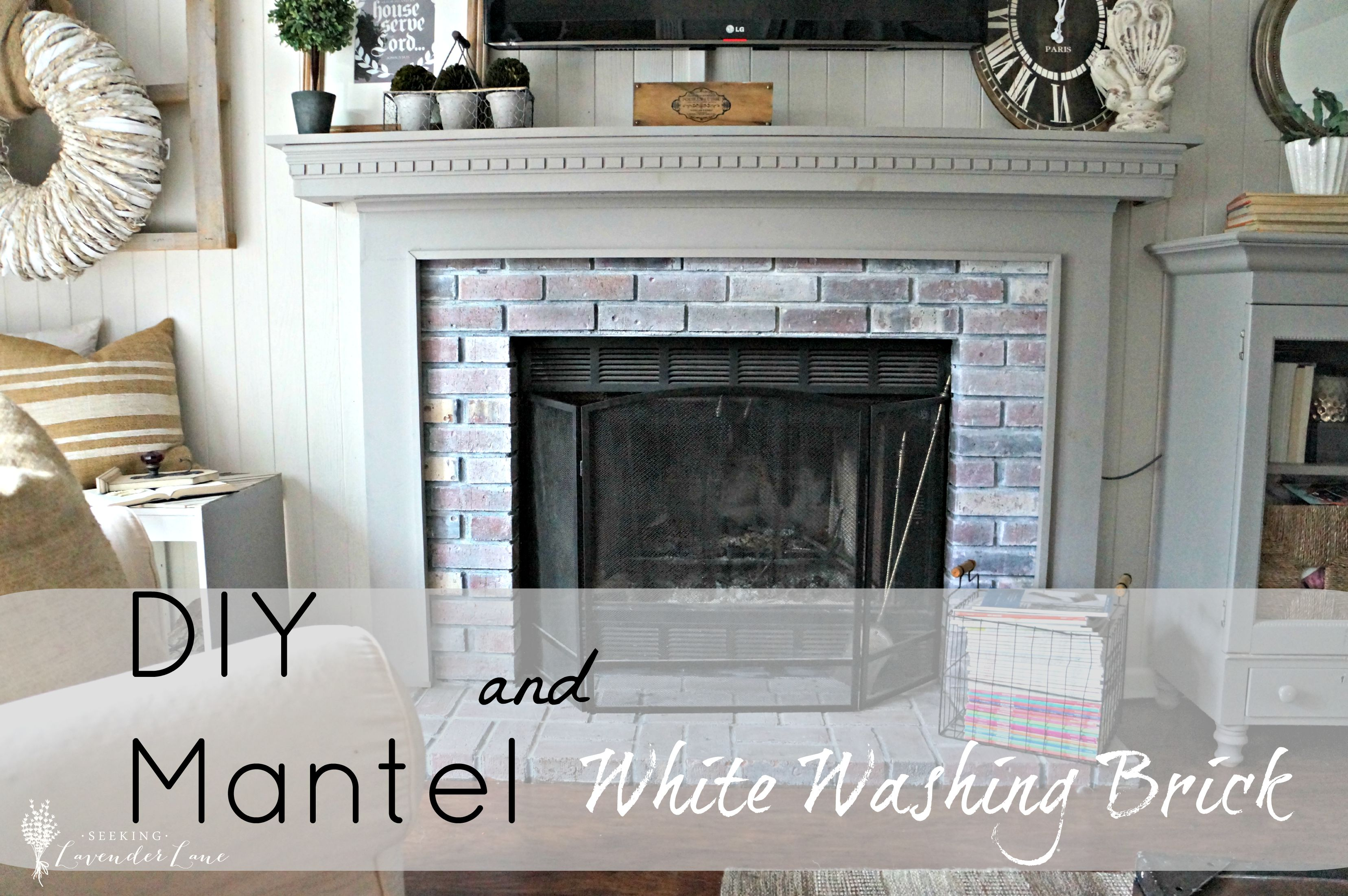 Diy Mantel And White Washing Brick