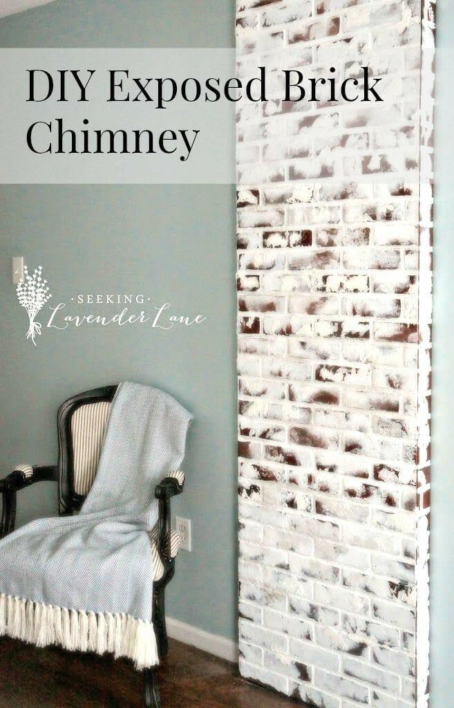 DIY exposed brick chimney #diy #chimney #brick #fauxbrick