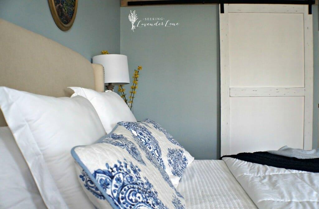 White Barn Door in Bedroom