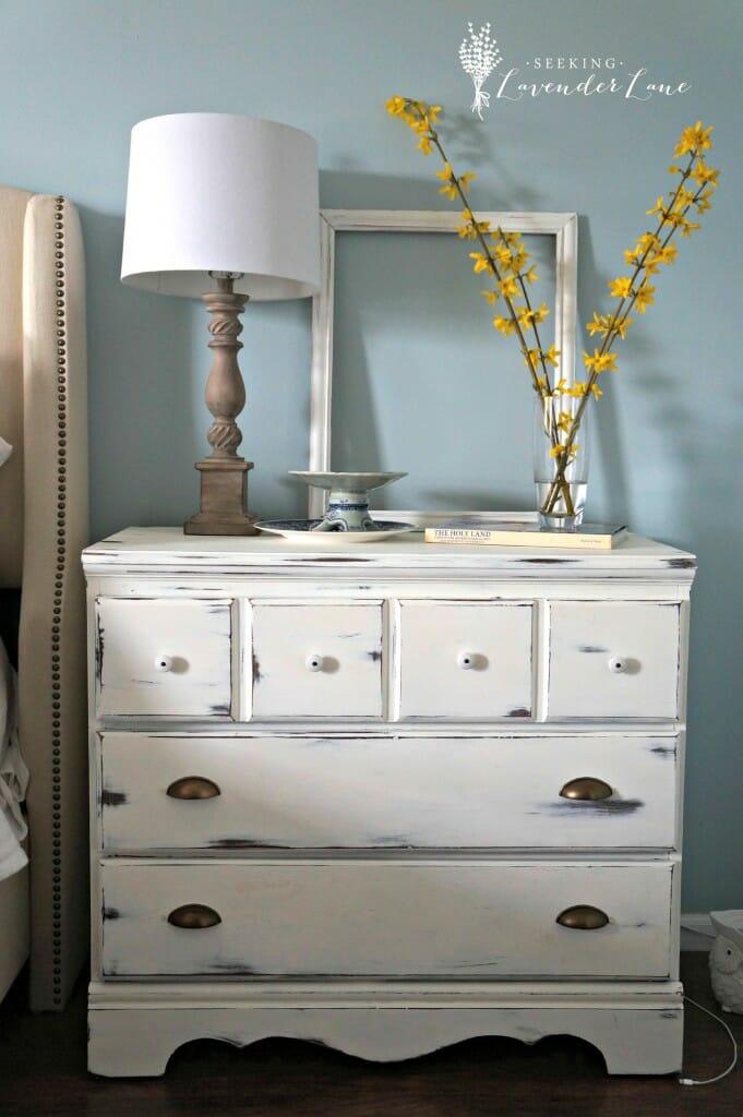 White curbside dresser