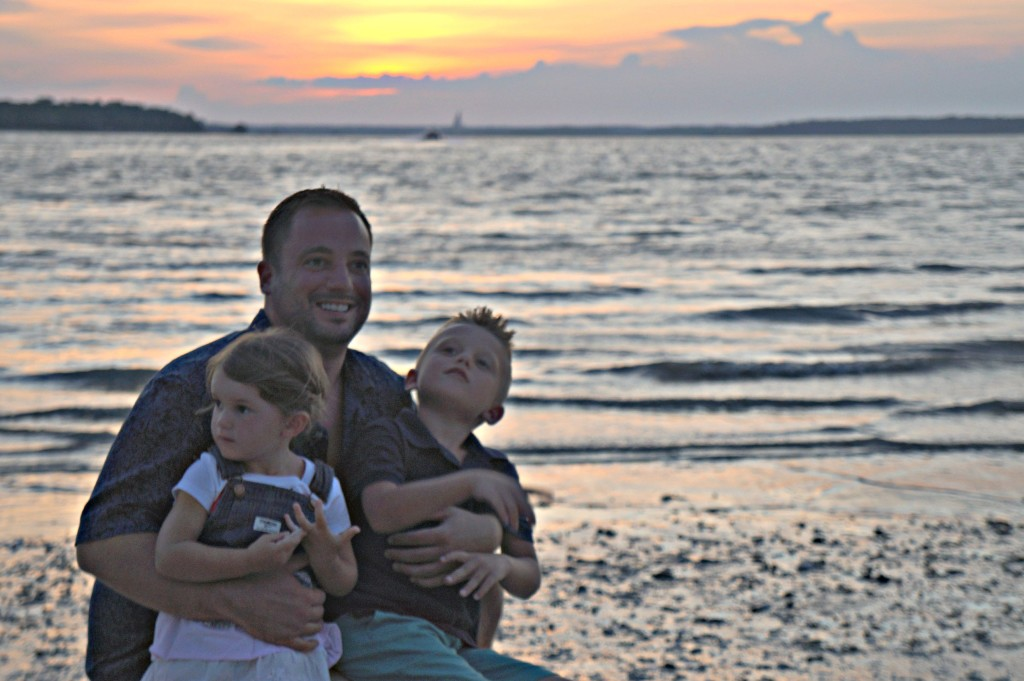 Dan and Kids in front of Sunset
