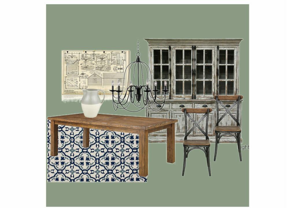 OB-Green Rustic Dining Room