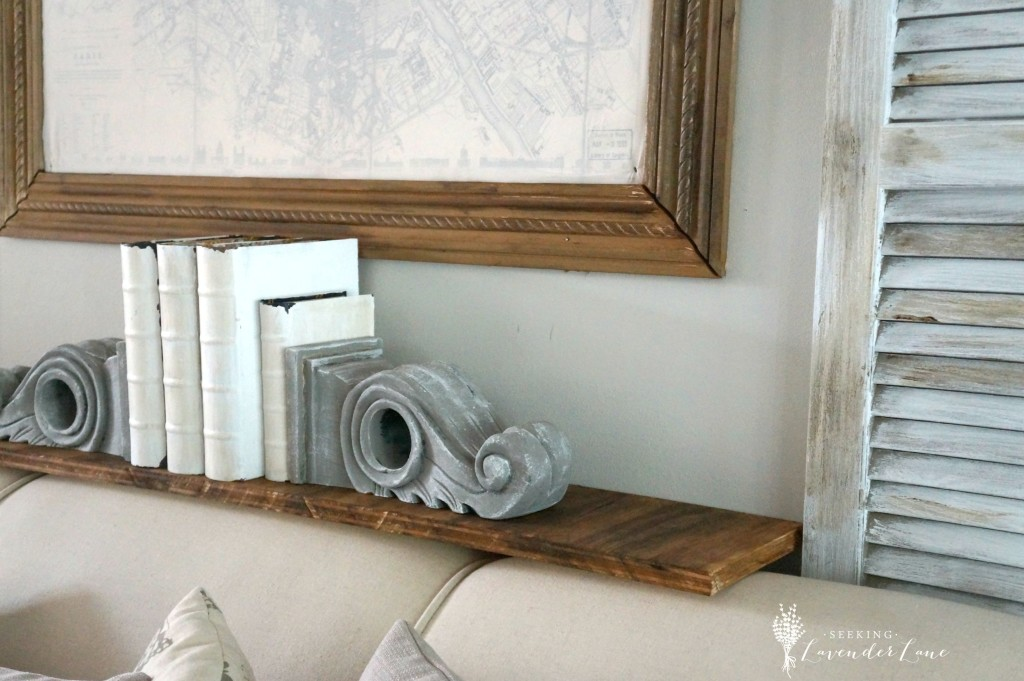 Rustic Shelf and Shutters above couch