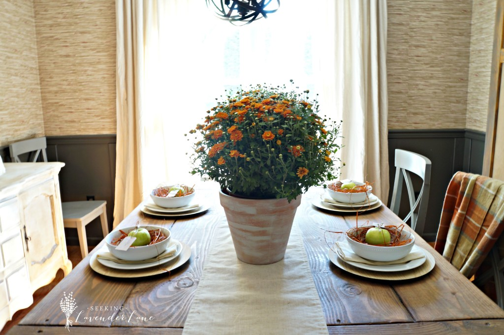 Orange and Gray Fall Dining Space