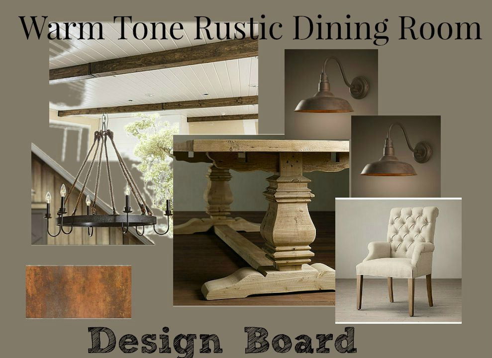 Warm Tone Rustic Dining Room Design Board