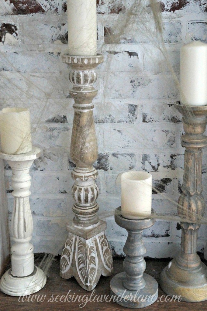 Candles with Cobwebs for Halloween decor