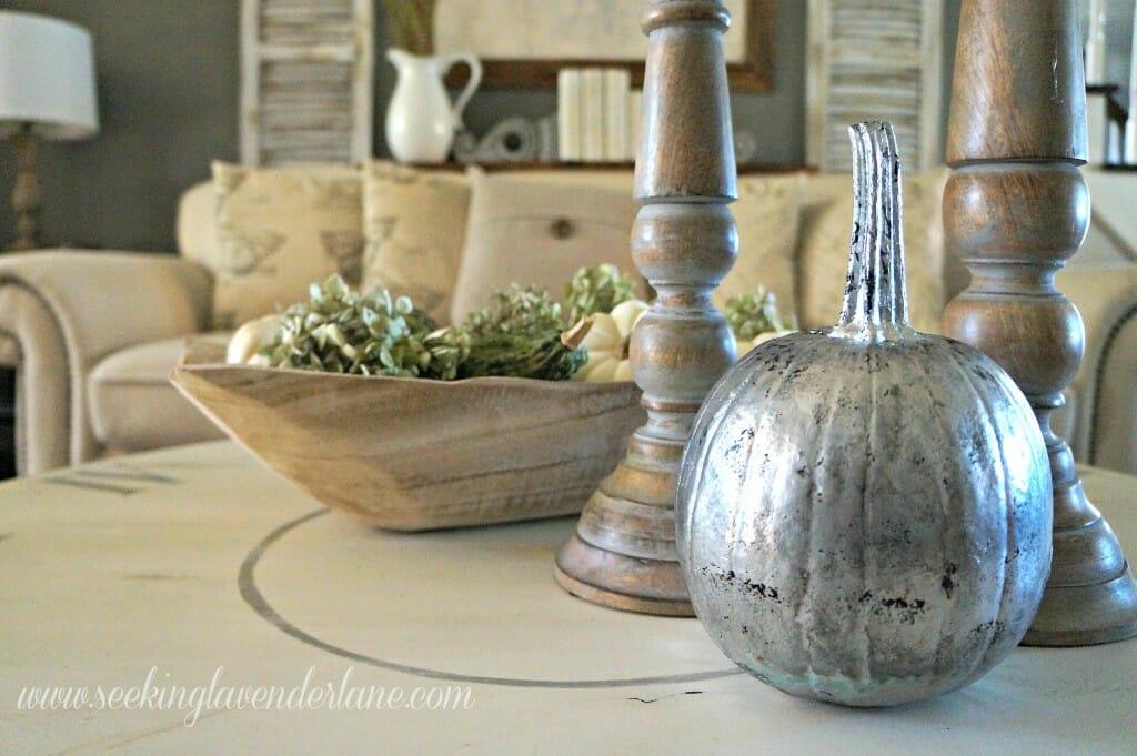 Mercury Glass painted pumpkin