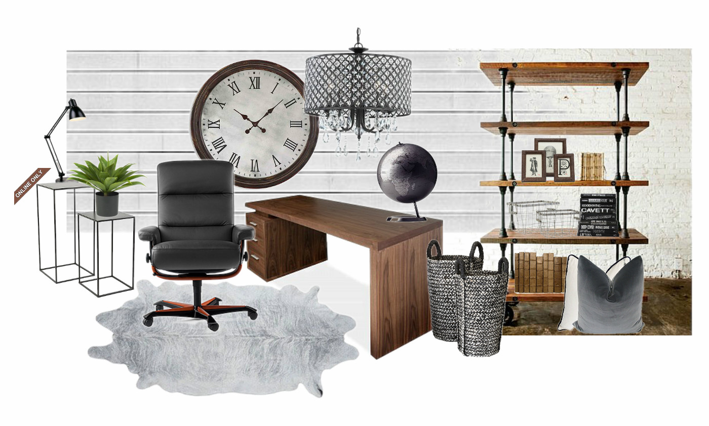 Rustic meets modern office design board seeking lavendar for Modern furniture and home decor