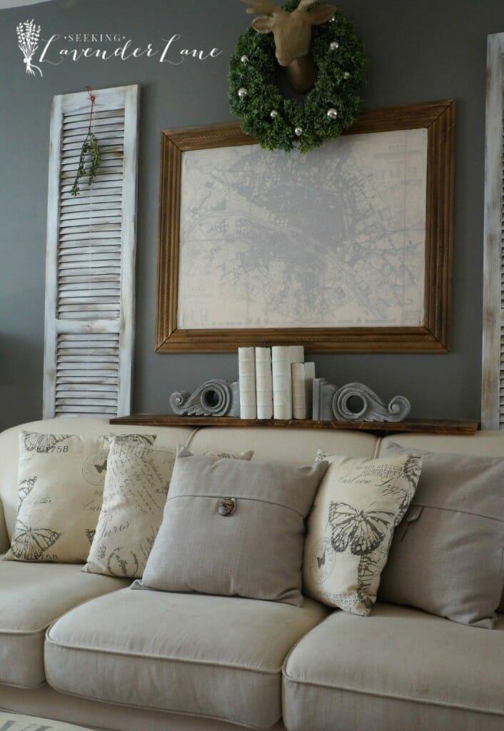 French Rustic Christmas Living Room