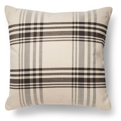 plaid pillow grey and cream