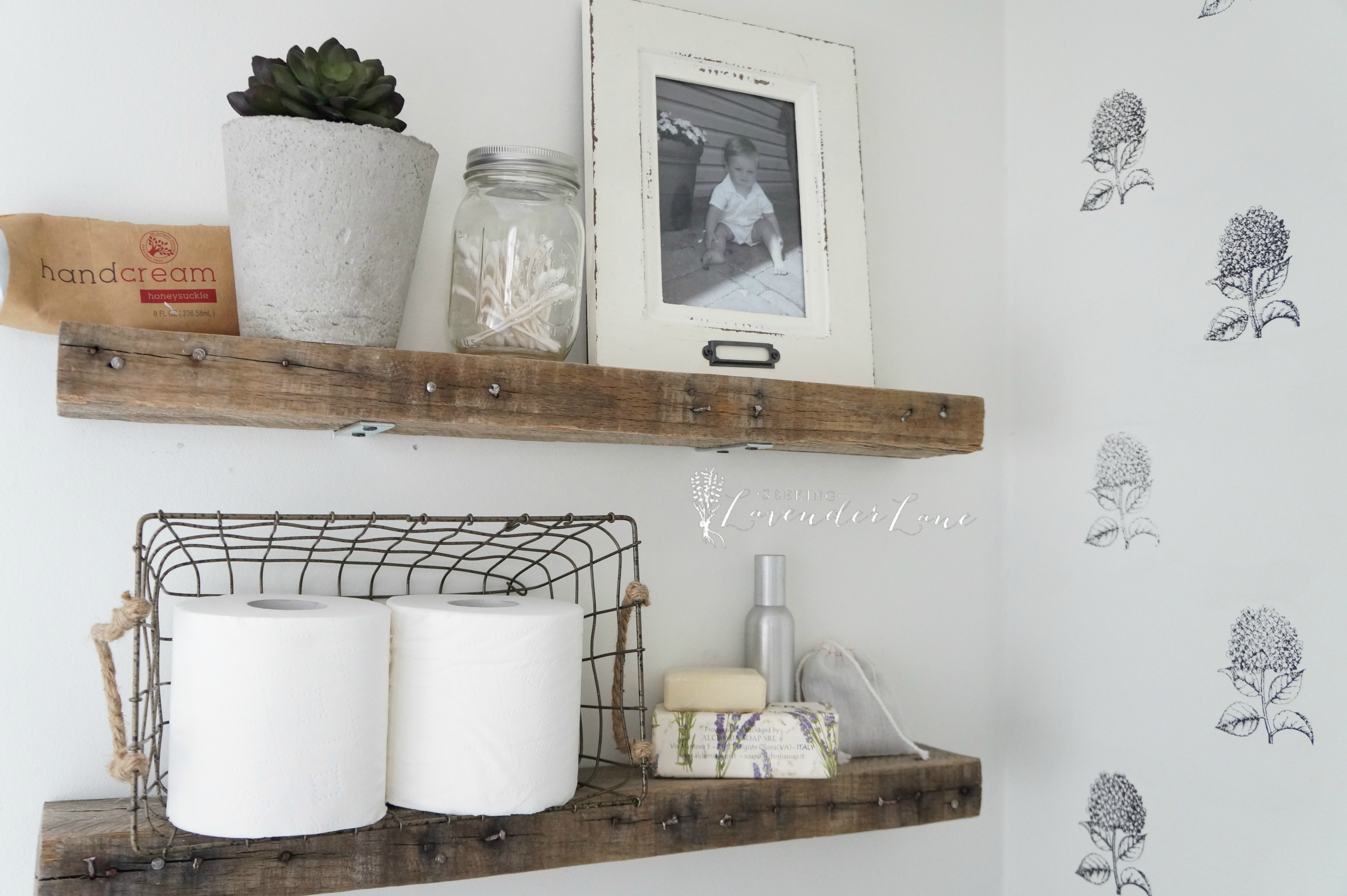 DIY Rustic Bathroom Shelves - Seeking Lavendar Lane