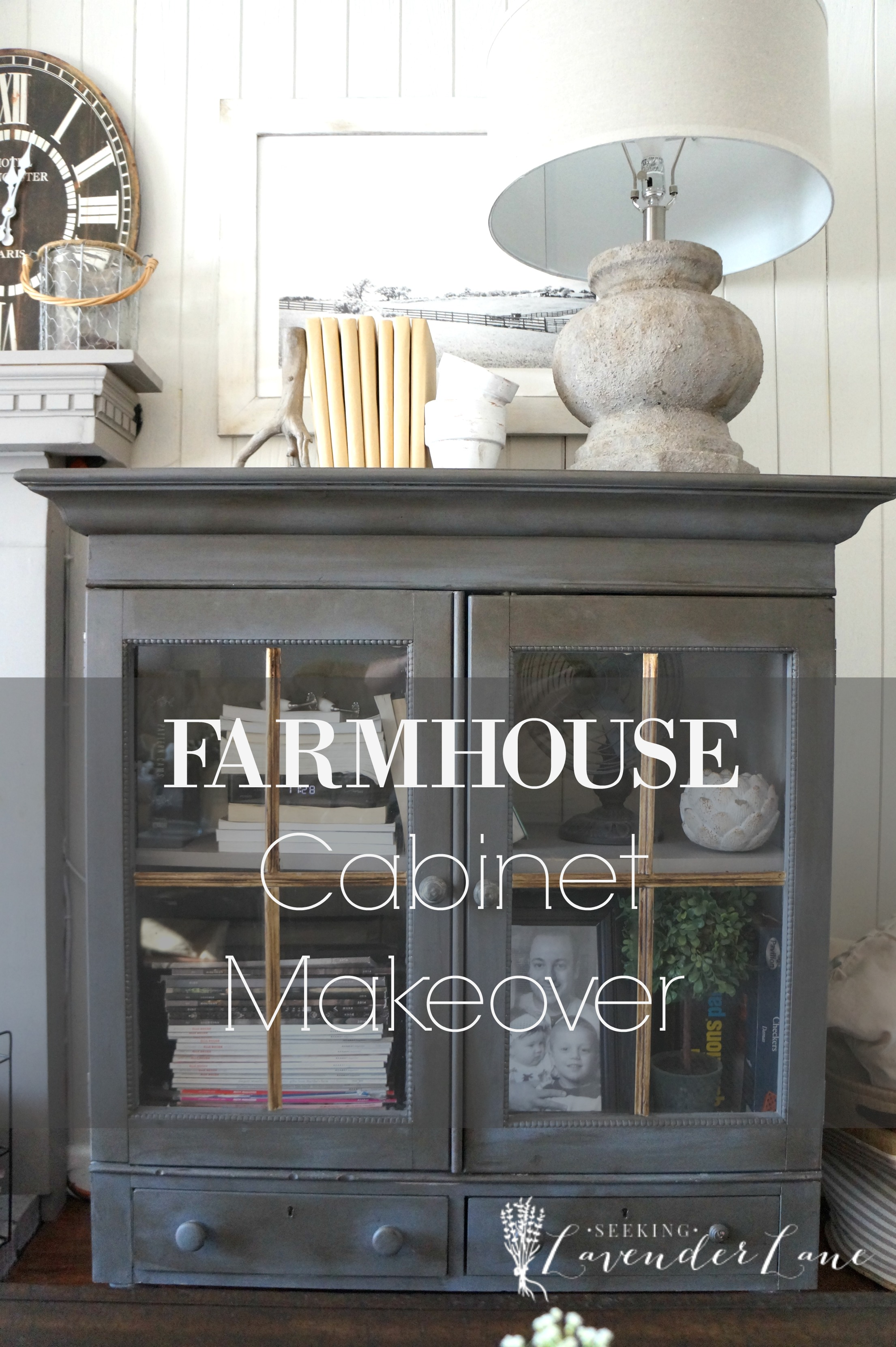 Farmhouse cabinet makeover new year new room challenge - Decals for kitchen cabinets ...