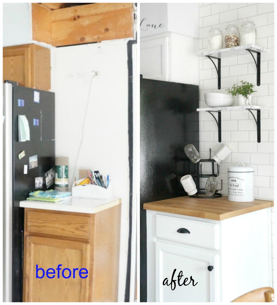 before after marble shelves