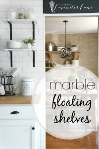 marble floating shelves with label