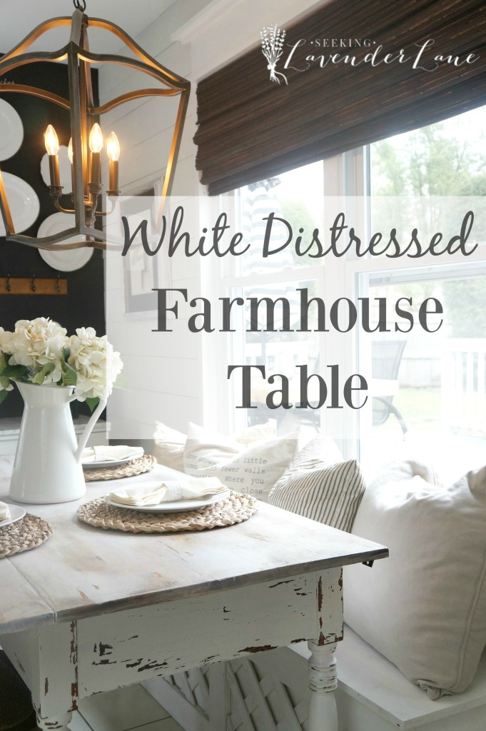 white distressed farmhouse table