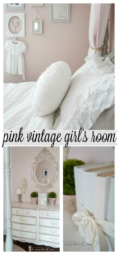 pink vintage girls room