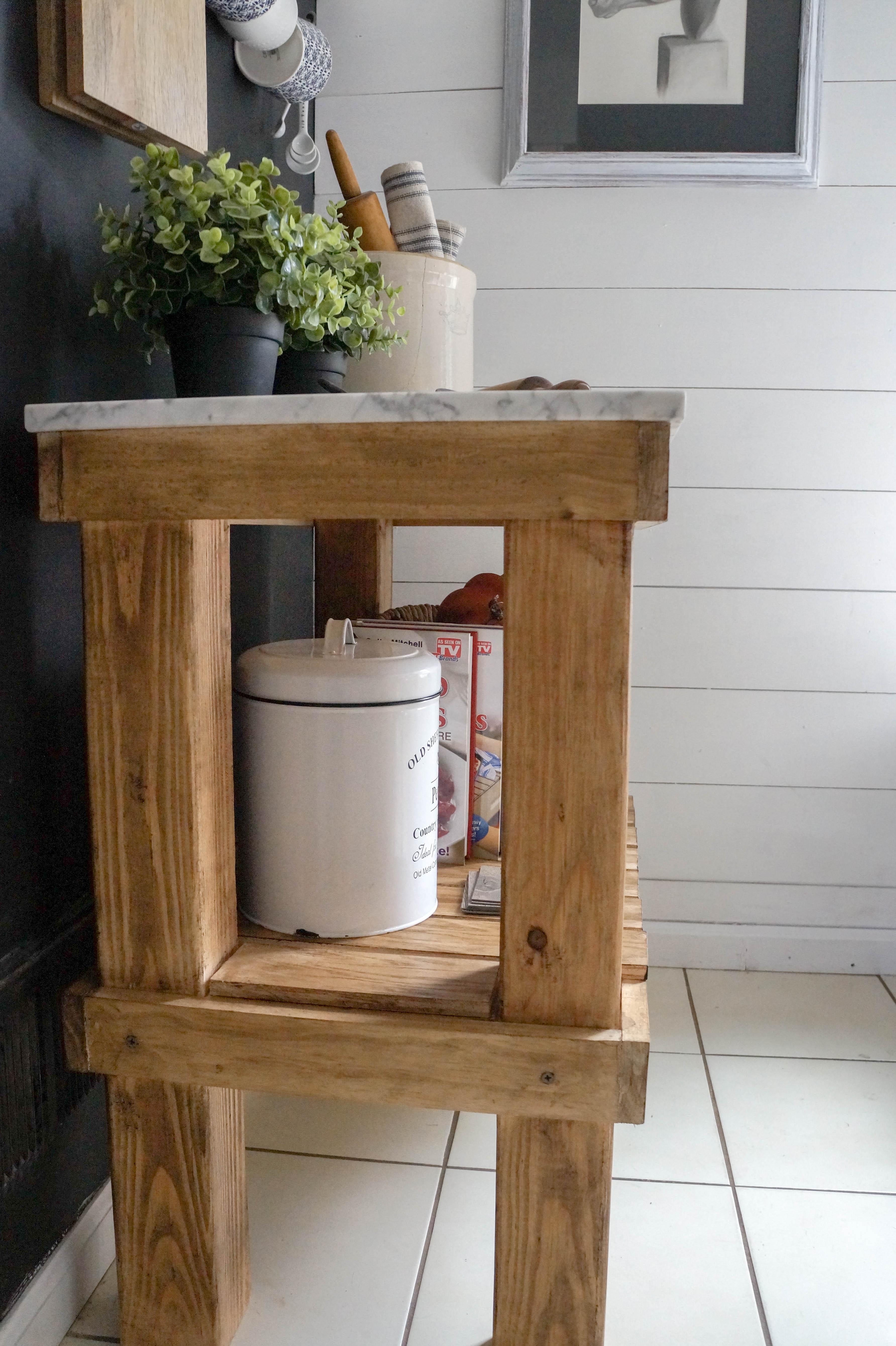 Kitchen Cart: DIY Rustic Cart with Marble Top - Seeking ...