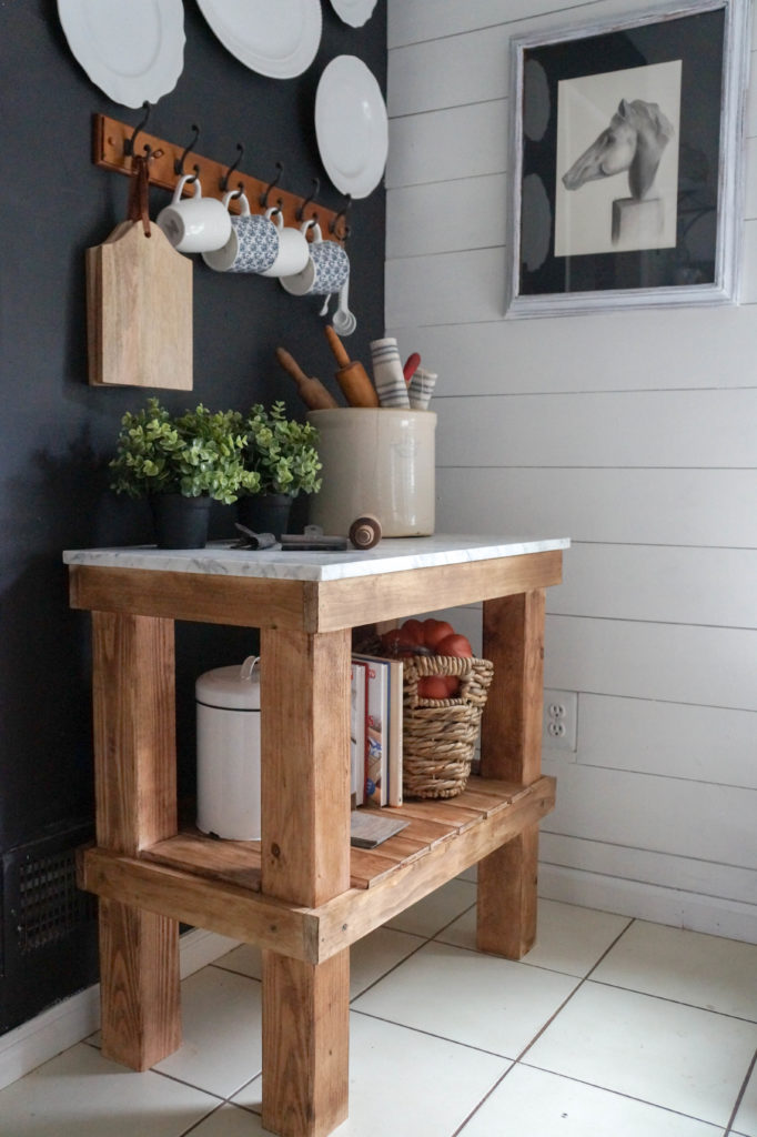 Kitchen Cart: DIY Rustic Kitchen Cart with Marble Top