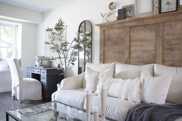 they definitely gave this sofa that european farmhouse look having a neutral colored sofa as i chose helps to switch the accessories and throw pillow - Farmhouse Living Room Furniture