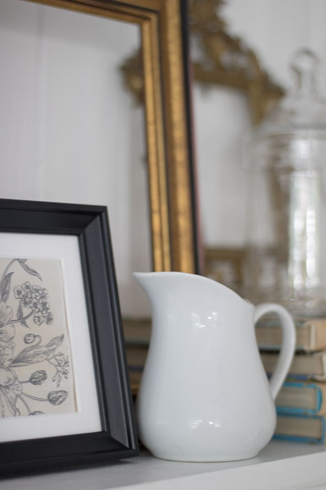 mantel decor with vintage style
