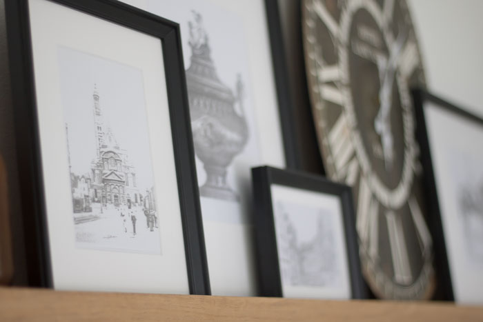 vintage prints in black and white IKEA frames