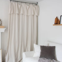 How to Hide a TV with a Drop Cloth Curtain