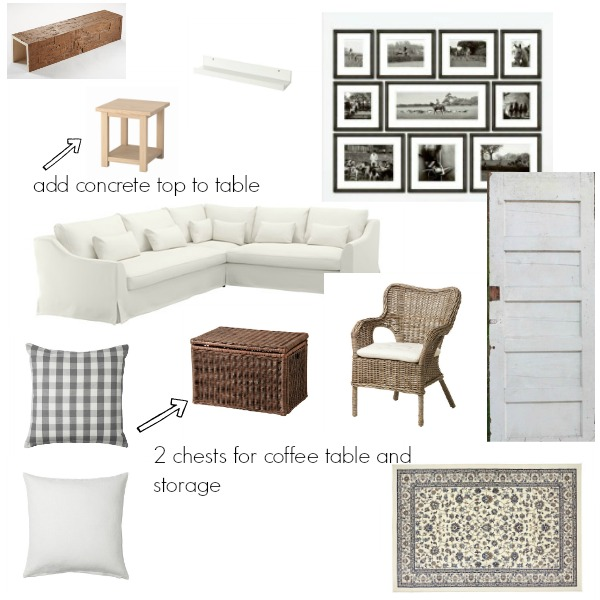 Design plans for the vintage cottage living room