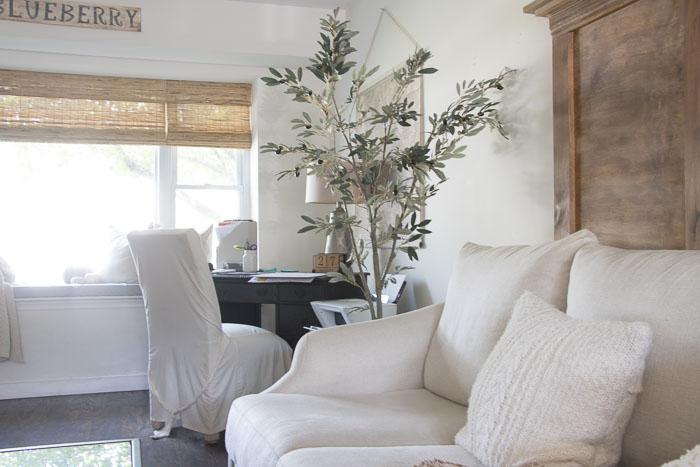 European Farmhouse Living room, bamboo blinds, texture, olive tree