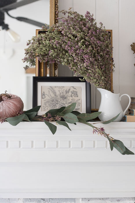 Blush and Cranberry Mantle for Fall