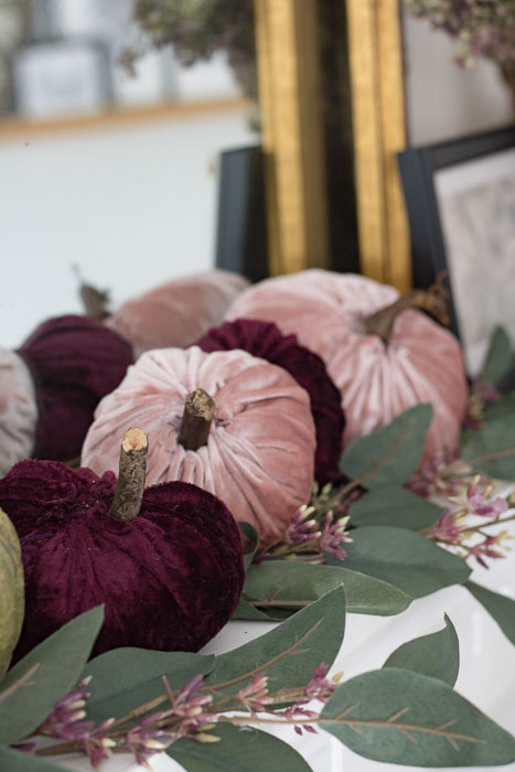 Dusty rose and Cranberry Velvet Pumpkins decorated mantel