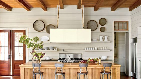wood island farmhouse kitchen - White Farmhouse Kitchen