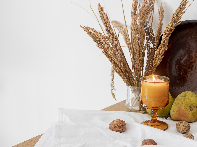 Welcome Home Sunday: Vintage amber glass candle for Fall